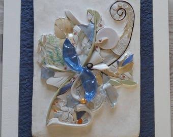 """Indisponible - Tableau en mosaïque """"Eclosion"""", verre et vaisselle cassée (Picassiette)"""
