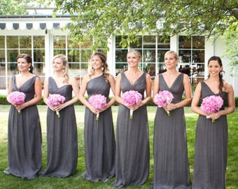FREE SHIPPING Promotion! Gray LONG Maxi Infinity Dress Gown Convertible Multiway Wrap Dress Bridesmaid Dress Evening Dress