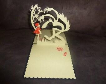 """The little Red Riding Hood"" Kirigami themed handmade card"