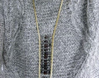 Indie crystals of Quartz and Pyrite necklace