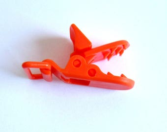 Orange orange resin, Alligator Clip pacifier clip