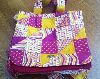 Large backpack - satchel made of patchwork