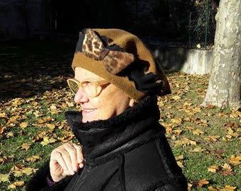 "Beautiful beret pattern ""ARUSHA"" fleece quality"