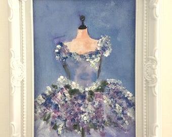 """Lilac strapless Lilirose-art"" shabby chic decoration"