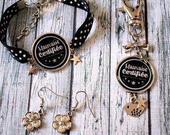 Set bracelet earrings jewelry Keychain / bag bad charm
