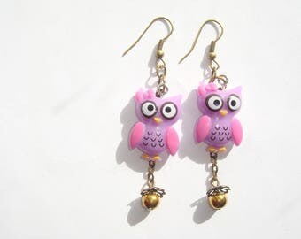 OWL earrings purple resin