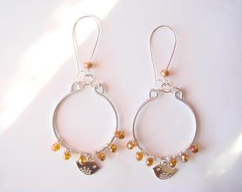 Aluminum wire Pearl topaz hoop earrings