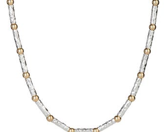 Gold and Silver Hammerd Necklace
