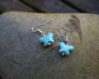 Greek ceramic butterfly earrings