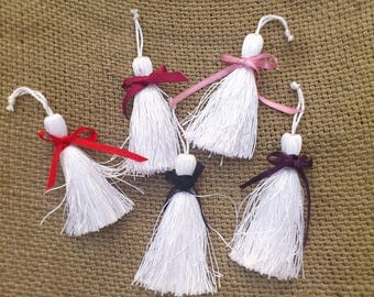 White beaded cotton tassels with bows. Hand made. Set of 5