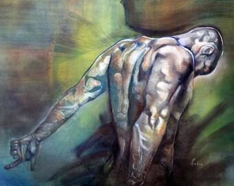 Tiger painting figurative oil on canvas original artwork