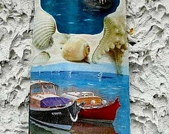 For wall hanging tile: sand, sea spray, shell, summer