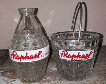 1950's St Raphael Glass Water Decanter And Ice Bucket, Vintage, Old, Bar Ware, Gift,French, Collectible,Retro