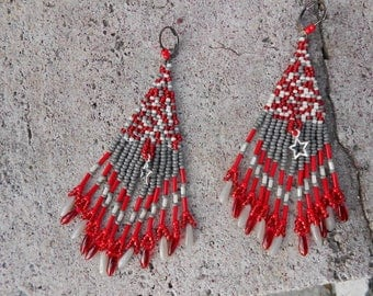 """Cheyenne"" grey and Red beaded earrings"