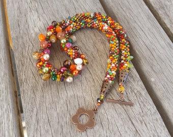 """Autumn Grappolo"" beaded necklace"