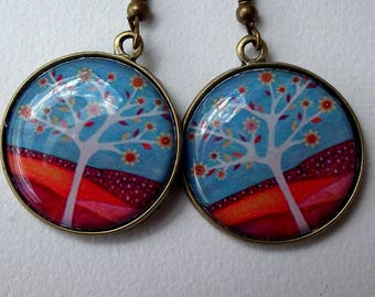 """earring paper and resin """"tree of life"""""""