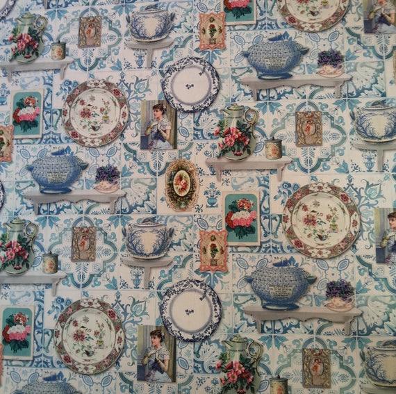 Fabric coupon - pattern kitchen cotton - size 65 x 70 cm