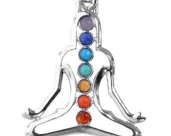 Pendant silver plated - 7 chakras yoga portrait