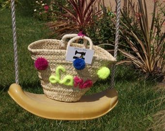 Small tote or straw basket custom made knitting with tassels