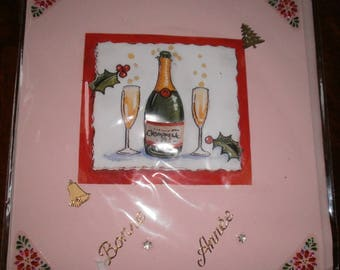 Happy new year card champagne bottle (1)