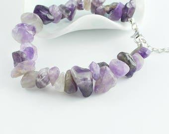 Beautiful Amethyst chip bead bracelet