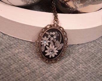 Unique necklace, Handmade necklace, Handmade jewellery, Antique bronze necklace, Polymer clay pendant