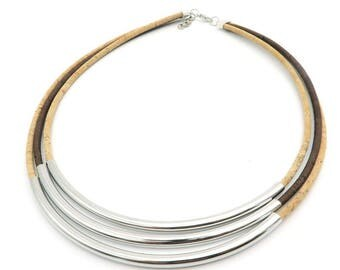 Corky Silver Tubes Necklace