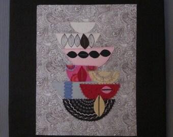 Textile art print: fabric bowls