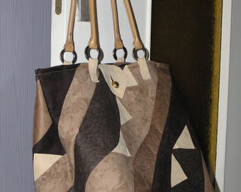 Beige and Brown patchwork handbag