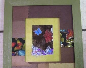Multicolored butterflies framed