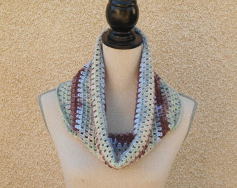 Multicolored crocheted Snood (Almond green, beige, pinkish, blueish grey and Brown)
