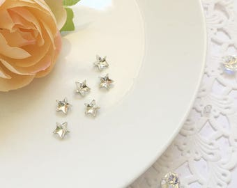8mm Faceted Star Rhinestone | Pointed Back Glass Rhinestone - 6pcs