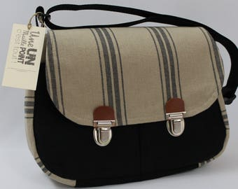 scratches and natural cotton canvas briefcase style satchel