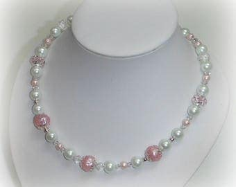 ROSIE - Pink and white bridal necklace