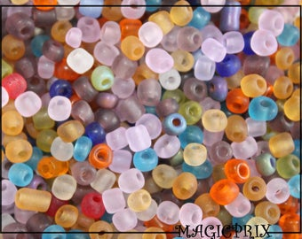 SET of 500 beads of rock glass frosted Ø 4 mm m2345