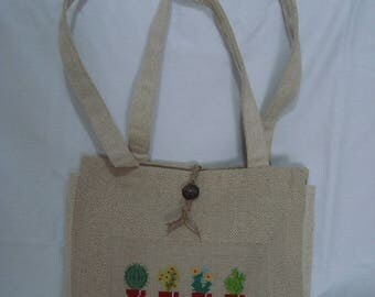 embroidered linen chevron handbag pattern plants - OOAK