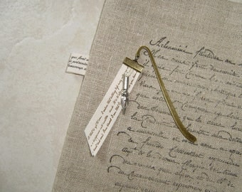 elegant bookmark patinated metal bronze, poetic Ribbon and feather