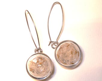 Stud Earrings with small glass filled with dandelion puck