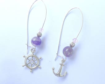 Earrings retro chic sailor anchor and bar boat, amethyst and silver colors