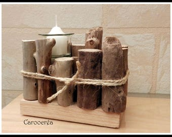 Driftwood on reclaimed wood candle holder