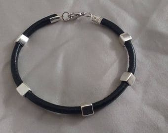 Mens leather cord jewelry and bead square iron trend