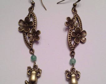 Frog earrings flowers and charm bronze metal and aventurine bead