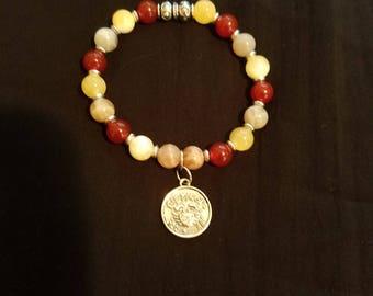 Moonstone, Carnelian, Calcite Cancer Zodiac Bracelet