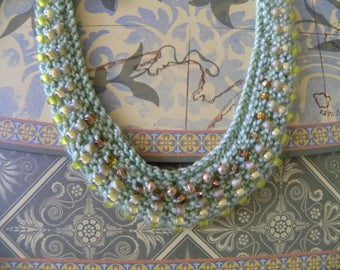 Green and Golds Ombre Hand Knit Beaded Necklace