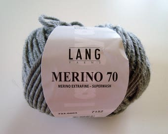 MERINO 70 lang - 50 g - needles 6-7 - grey wool.