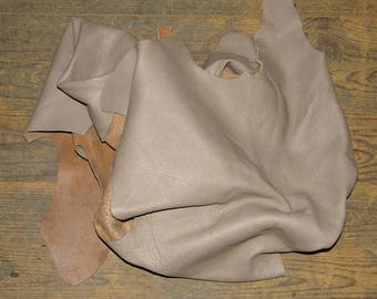 Taupe cowhide leather scraps