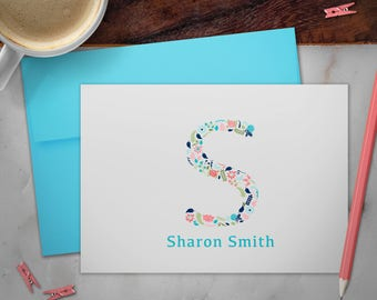 Personalized Stationery Note Cards Set with Envelopes | Floral Monogram