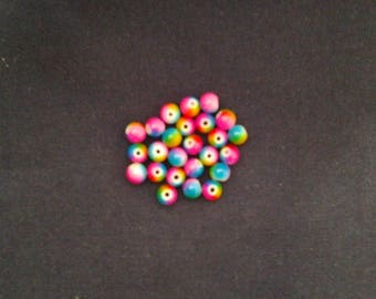 25 multicolored 8 mm glass round beads