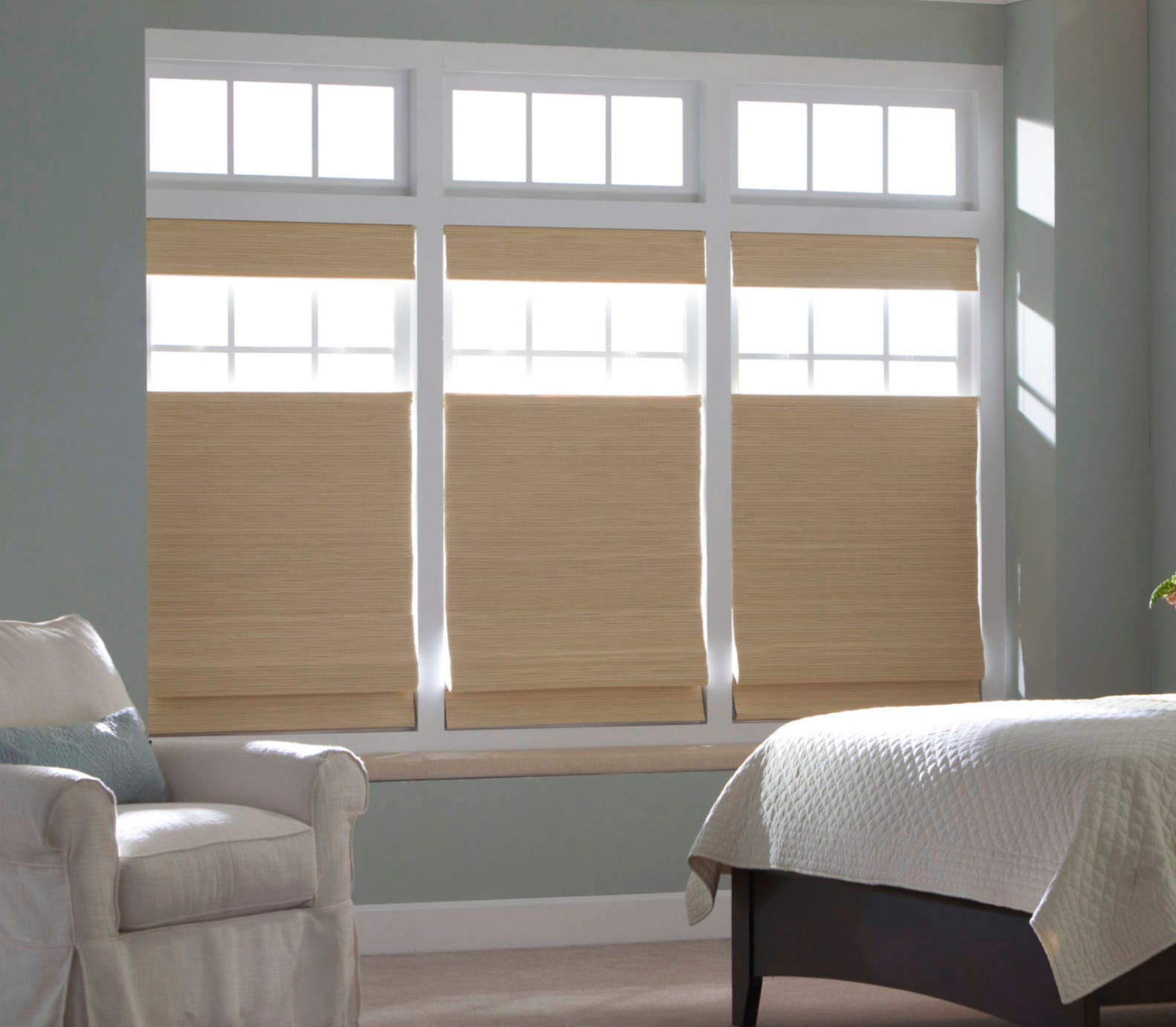 Top Down Roman Shades Custom Woven Wood Shades Bamboo Shades