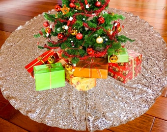 """52"""" ROSE GOLD Christmas Sequin Tree Skirt - Sparkly Glittery Sequin Xmas Tree Skirt - Made In USA"""